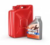 Motor oil canister and jerrycan of petrol or gas. 3d — Stock Photo