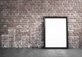 Poster standing next to drawing wall — Stock Photo