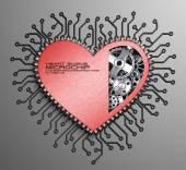 CPU. Gears inside heart processor. 3d — Stock Photo