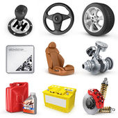 Set of parts of car. 3d render icons. — Stock Photo