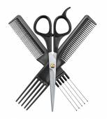 Professional hairdresser scissors and two combs — 图库照片