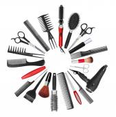 A collection of tools for professional hair stylist and makeup a — Stock Photo