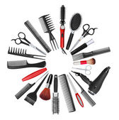 A collection of tools for professional hair stylist and makeup a — Photo