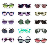 Group of different sunglasses isolated on white background — Stock Photo