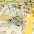 Road map with shopping cart 3d rendering image — Stock Photo #57833287