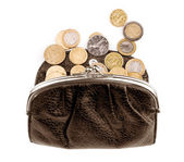 Purse with coins on a white background — Stock Photo