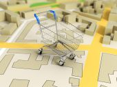 Road map with shopping cart 3d rendering image — Stok fotoğraf