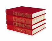 Stack of vintage red books on white isolation — Stock Photo
