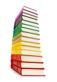 Stack of colorful vintage books on white isolation — Stockfoto