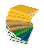 Stack of yellow, green and blue books on a white background isol — Stockfoto