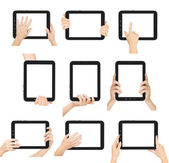 Set of tablet screen with hands. Vector. — Stock Photo