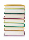 Stack of colorful books in the textile cover on isolated white — Fotografia Stock