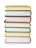 Renkli Tekstil kapak kitaplarında izole beyaz üzerine yığını — Stok fotoğraf