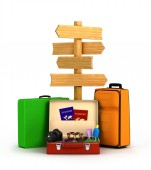 Wood sign board and travel bags passports, glasses and camera — Stock Photo