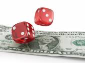 Pair of red dice on one dollar banknotes. — Stock Photo