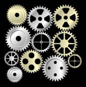 Gear collection machine collection of vector cogwheel and gears — Stock Vector