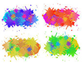Collection of colorful paint splash. Vector set of brush strokes. Isolated on white background — Stock Vector