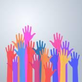 Arriba las manos de colores — Vector de stock