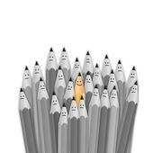 One bright color smiling pencil among bunch of gray sad pencils. vector illustration — Stock Vector