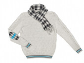 Gray pullover with a scarf on a white background — Stock Photo