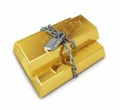 Gold bullion protected with chain and padlock — Stock Photo