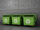 Trash can dustbins outside concrete wall. — Stock Photo