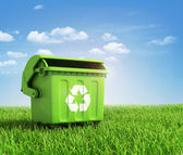 Green plastic trash recycling container ecology concept, with la — Stock Photo