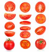 Collection of pieces of tomatoes on a white background — Stock Photo