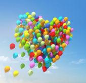 Big bunch of balloons. Heart shape. — 图库照片