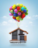 Surreal scene of a house lifted to the sky by air balloons. Conc — Stock Photo