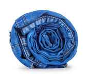 Blue roll jeans isolated on white background — Stock Photo