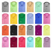 Collection of colorful bright men's shirts on a white background — Stock Photo
