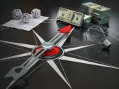 Conceptual image of compass directing at money. Course concept. — Stock Photo