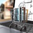 The windows in the shopping cart on notebook keyboard. E-commerc — Stock Photo #69721417