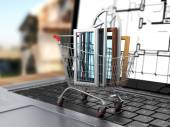 The windows in the shopping cart on notebook keyboard. E-commerc — Stock Photo