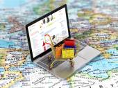 International online shopping. Colorful package in the shopping — Stock Photo