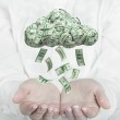Female hands catching falling money from cloud. Profit concept. — Stock Photo #72493187