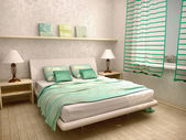 3d illustration of bedroom interior in a light turquoise — Stock Photo