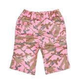 Pink children's camouflage pants isolated on white background — Stock Photo