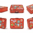 Set of Travel Suitcases with stickers. Clipping path included. Computer generated image. — Stock Photo #76742999