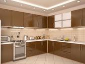 3d Abbildung des modernen Stil Küche Interieur — Stockfoto