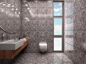 3d illustration of modern bathroom interior minimalist style in — Stock Photo