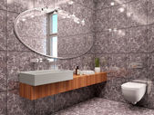3d illustration of modern bathroom interior minimalist style in — Stock Photo