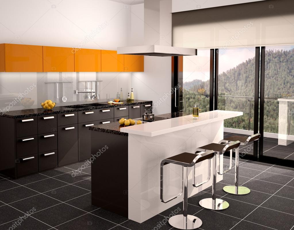 3D illustratie van moderne zwart en oranje keuken interieur met ...