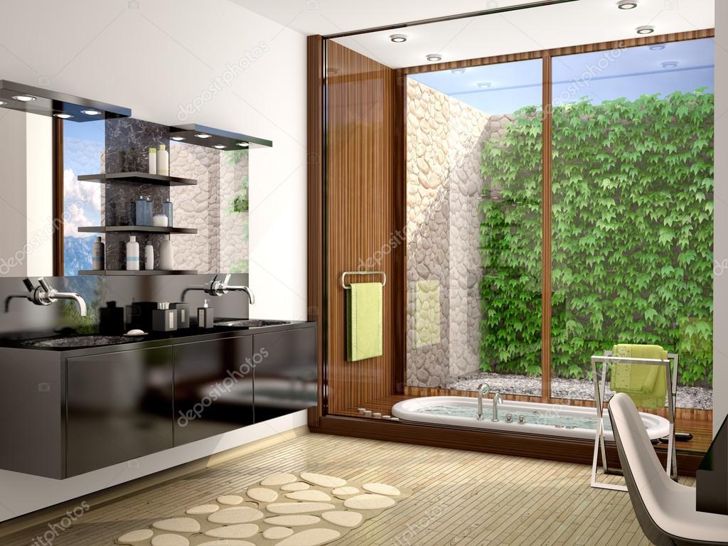 3D illustration av moderna badrum med svart handfat och en stor p ...