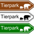 Direction sign zoo — Stock Vector #58290843