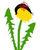 Aim at slugs on dandelion — Stock Vector
