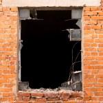 Brick wall , broken window — Stock Photo #81110270