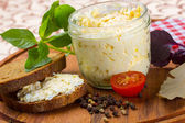Fresh cream cheese with rye bread — Stock Photo