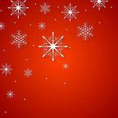 Białe płatki śniegu na czerwonym tle — Wektor stockowy